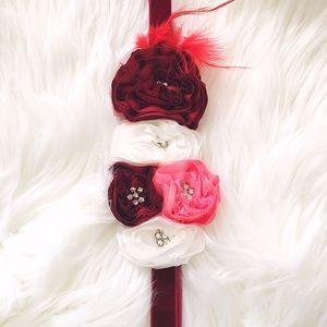 Other - Holiday Rose Floral Velvet Headband NWOT